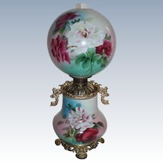 """Outstanding Hand Painted  Royal Gone with the Wind Oil Lamp with ROSES ~RARE 12"""" Shade ~ Outstanding Fancy Ornate Handled CHERUB Font Spill Ring and Ornate Base~ Original Condition ~Original Parts"""