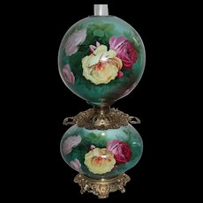 """HUGE Hand Painted Gone with the Wind Oil Lamp with ROSES ~RARE 13"""" Shade ~ Outstanding Fancy Ornate Handled  Font Spill Ring and Ornate CHERUB Base~ Original Condition ~Original Parts"""