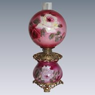 """Outstanding Hand Painted Gone with the Wind Oil Lamp with ROSES ~ 10"""" Shade ~ Outstanding Fancy Ornate Font Spill Ring and Base~ Original Parts"""