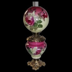 """Wonderful Gone with the Wind Oil Lamp with ROSES ~ 10"""" Shade ~ Outstanding Fancy Ornate Font Spill Ring and Base ~ALL Original Parts"""