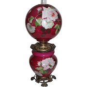 """Outstanding Hand Painted Gone with the Wind Oil Lamp with ROSES ~RARE 12"""" Shade ~ Outstanding Fancy Ornate Handled Font Spill Ring and Base~ Original Condition ~Original Parts"""