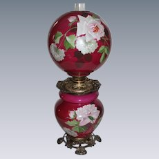 "Outstanding Hand Painted Gone with the Wind Oil Lamp with ROSES ~RARE 12"" Shade ~ Outstanding Fancy Ornate Handled Font Spill Ring and Base~ Original Condition ~Original Parts"
