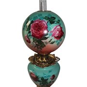 """Outstanding Hand Painted Gone with the Wind Oil Lamp with ROSES ~RARE 12"""" Shade ~ Outstanding Fancy Ornate Font Spill Ring and Base~ Original Condition ~Original Parts"""