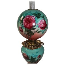 "Outstanding Hand Painted Gone with the Wind Oil Lamp with ROSES ~RARE 12"" Shade ~ Outstanding Fancy Ornate Font Spill Ring and Base~ Original Condition ~Original Parts"
