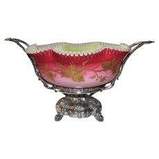 WOW!! Museum Quality ~ Wonderful RARE Antique Victorian Brides Basket #320 Made by Simpson, Hall, Miller & Co. ~ RARE Hand Blown Art Glass Mother of Pearl Quilted and Hand Enameled  Herringbone Bowl ~ C. 1870's