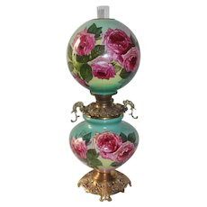 """Outstanding Gone with the Wind Oil Lamp with ROSES ~RARE 11"""" Shade ~ Outstanding Fancy Ornate Handled Font Spill Ring and Base~ FANCY TANK"""