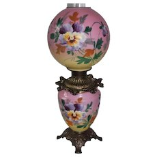 Outstanding Hand Painted Gone with the Wind Oil Lamp with Pansies ~ Outstanding Fancy Ornate Font Spill Ring and Base