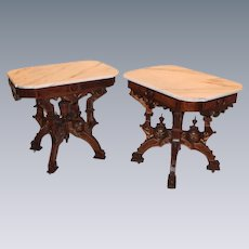 Outstanding PAIR of 1870's American Neo-Grec Renaissance Revival Carved and Burled Walnut Side Tables, late 19th c., probably made by Berkey & Gay