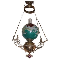 WOW! Outstanding Victorian Ansonia Hanging Gone with the Wind Parlor or Library Kerosene Oil Lamp ~ VERY RARE Jeweled Frame ~ Outstanding RARE Sanded, Hand Painted and Gold Gilded Hand Blown Glass Shade