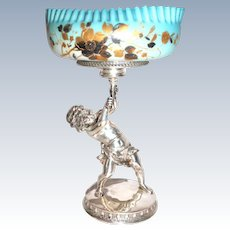 WOW!!  RARE Antique Full Bodied Figural Cherub Victorian Brides Basket Model #2265 Made by Pairpoint Mfg. Co. ~RARE ORIGINAL Hand Blown Art Glass Mother of Pearl Quilted and Enameled Bowl ~ C. 1880's