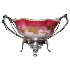 WOW!! Museum Quality ~ Wonderful RARE Antique Victorian Brides Basket  Made by E. G Webster and Brother ~ RARE Hand Blown Art Glass Mother of Pearl Quilted and Hand Enameled Herringbone Bowl ~ C. 1870's