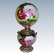 """HUGE Gone with the Wind Oil Lamp ~RARE 12"""" SHADE~Masterpiece Breathtaking BEAUTY WITH HAND PAINTED PEONIES~ Outstanding Fancy Ornate Handled Font Spill Ring and Base~ Original Condition"""