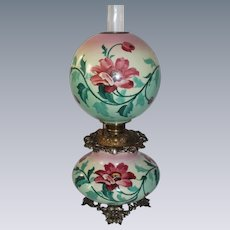 "HUGE Gone with the Wind Oil Lamp ~RARE 12"" SHADE~Masterpiece Breathtaking BEAUTY WITH HAND PAINTED LILIES ~ Outstanding Fancy Ornate Font Spill Ring and Base~ Original Condition"