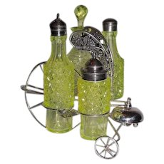"RARE Simpson Hall & Miller Late Victorian ""Bicycle Castor"" combination  dinner bell, condiment and cruet set~ Circa 1898~Outstanding Daisy Button EPG  Vaseline Glass Jars ~Great Condition"