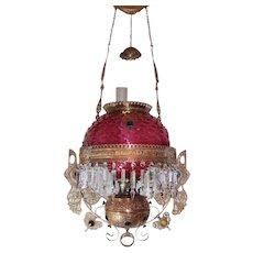 WOW! Victorian Bradley Hubbard Jeweled Hanging Library Kerosene Oil Lamp ~ VERY RARE Raspberry Shade, Undershade and Jeweled Stork Frame ~ with RARE Jeweled Embellishment and Matching Undershade