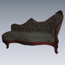"1860's Rococo Victorian Rosewood Recamier (""Fainting Sofa"") ~ Wonderful Hand Carvings  ~ Magnificent Piece of Fine Antique Furniture"