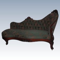 """1860's Rococo Victorian Rosewood Recamier (""""Fainting Sofa"""") ~ Wonderful Hand Carvings  ~ Magnificent Piece of Fine Antique Furniture"""