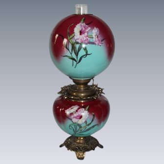 """LARGE Gone with the Wind Oil Lamp ~RARE 11"""" SHADE WITH CARNATIONS ~ Outstanding Fancy Ornate Font Spill Ring and Base~ Original Condition"""