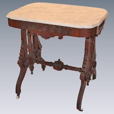 Outstanding 1880's American Late  Renaissance Revival Period Victorian Carved Walnut Side Table