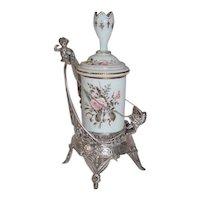 WOW!! RARE Fancy 1860's Rogers & Brothers #0186 Figural  Cherub (Cupid) Quadruple Plated Figural Vanity Jar (or Pickle Castor)