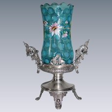 """RARE Fancy Victorian 1870's Meriden B. Company #0380 Blue Opalescent """"Reverse Thumbprint"""" Celery Vase with Hand Enameled Flowers ~ Outstanding Quadruple Plated Figural Holder"""