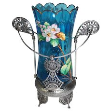 "WOW!! RARE Fancy Victorian 1870's Simpson, Hall, Miller & Co. #1051 Blue ""Elongated Thumbprint"" Celery Vase with Hand Enameled Flowers and Butterfly ~ Outstanding Quadruple Plated Holder"