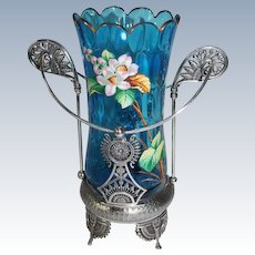 """WOW!! RARE Fancy Victorian 1870's Simpson, Hall, Miller & Co. #1051 Blue """"Elongated Thumbprint"""" Celery Vase with Hand Enameled Flowers and Butterfly ~ Outstanding Quadruple Plated Holder"""