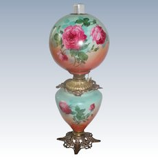 """Outstanding Hand Painted Gone with the Wind Oil Lamp with ROSES ~RARE 12"""" Shade ~ Outstanding Fancy Ornate Font Spill Ring and Base~ Original Condition"""