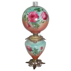 "Outstanding Hand Painted Gone with the Wind Oil Lamp with ROSES ~RARE 12"" Shade ~ Outstanding Fancy Ornate Font Spill Ring and Base~ Original Condition"