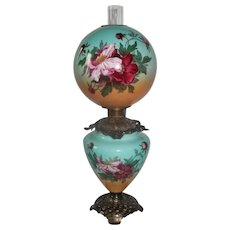 "Outstanding Hand Painted Gone with the Wind Oil Lamp with WILD ROSES ~RARE 12"" Shade ~ Outstanding Fancy Ornate Font Spill Ring and Base~ Original Condition"