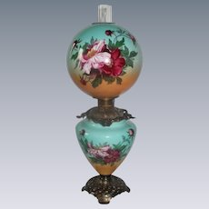 """Outstanding Hand Painted Gone with the Wind Oil Lamp with WILD ROSES ~RARE 12"""" Shade ~ Outstanding Fancy Ornate Font Spill Ring and Base~ Original Condition"""