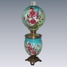 Wonderful Gone with the Wind Oil Lamp with ORCHIDS  ~ Outstanding Fancy Ornate Font Spill Ring and Base~ Original Condition
