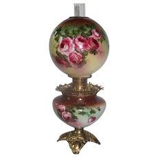RARE Fleur-de-lis Gone with the Wind Oil Lamp with ROSES~ Outstanding Fancy Fleur-de-lis Ornate Font Spill Ring and Fleur-de-lis Base~ Original Condition
