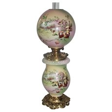"""RARE """"Sheep Herder's"""" Gone with the Wind Oil Lamp with Farm Scene ~ Outstanding Fancy Ornate Font Spill Ring and Base~ Original Condition"""