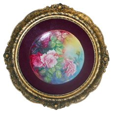 "Museum Quality Breathtaking Large Limoges Porcelain Plaque with HAND PAINTED VICTORIAN ROSES ~ANTIQUE French WOODEN Frame  ~ Signed by the Artist """"L. SARLANGEAS"""