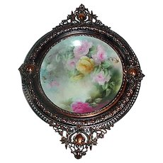 Breathtaking Large Limoges Porcelain Plaque with HAND PAINTED ROSES ~OUTSTANDING ANTIQUE French Copper Frame