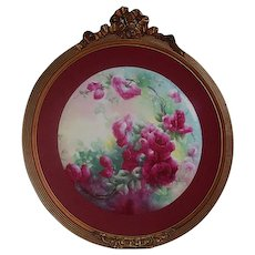 "Breathtaking Large RARE 16 1/2"" JPL Limoges Porcelain Plaque with HAND PAINTED ROSES ~OUTSTANDING HAND CARVED Vintage Carved WOOD Frame ~ Museum Quality Masterpiece Limoges Roses Stunning Still Life Painting on Porcelain ~ Signed by the Artist ""L.M.U"