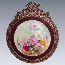 "Breathtaking  LARGE 13 1/2"" JPL Limoges Porcelain Plaque with Hand Painted ROSES ~OUTSTANDING Vintage Carved WOOD Frame"