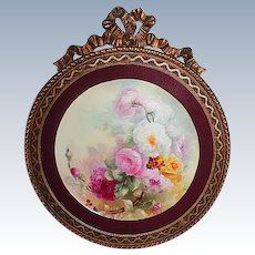 "Breathtaking  LARGE 13 1/2"" JPL Limoges Porcelain Plaque with Hand Painted ROSES ~OUTSTANDING Vintage Carved WOOD Frame"
