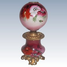 Wonderful Gone with the Wind Oil Lamp ~ Masterpiece Breathtaking BEAUTY WITH HAND PAINTED POPPIES ~ Outstanding Fancy Ornate MATCHING Font Spill Ring and Base~ Original Condition ~Original Parts