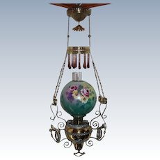 "WOW! Outstanding RARE B&H Victorian Hanging Library Gone with the Wind (GWTW) Kerosene Oil Lamp ~ OUTSTANDING ORIGINAL 11"" Hand Painted ROSES, PANSIES and VIOLETS Shade  ~ All Original"
