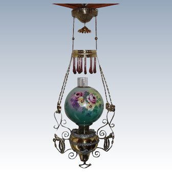"""WOW! Outstanding RARE B&H Victorian Hanging Library Gone with the Wind (GWTW) Kerosene Oil Lamp ~ OUTSTANDING ORIGINAL 11"""" Hand Painted ROSES, PANSIES and VIOLETS Shade  ~ All Original"""