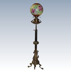 RARE Antique Victorian SOLID BRASS  Piano/Organ Floor Lamp ~Original Hand Painted ROSES Shade ~ Electrified.