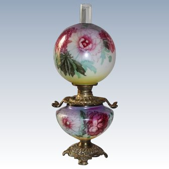 Wonderful Gone with the Wind Oil Lamp with PEONIES ~  Outstanding Fancy Ornate Handled Font Spill Ring and Base ~ALL Original Parts