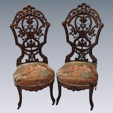 Outstanding PAIR of Circa 1850's J & J.W. Meeks Rosewood Rococo Victorian Parlor Chairs ~ Made in New York City ~ BRAND NEW TAPESTRY UPHOLSTERY
