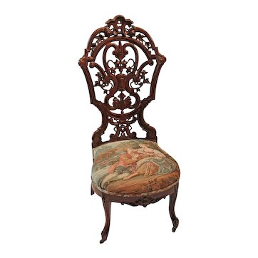 Outstanding Circa 1850's J & J.W. Meeks Rosewood Rococo Victorian Parlor Chair ~ Made in New York City ~ BRAND NEW TAPESTRY UPHOLSTERY