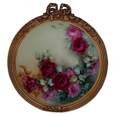 """Breathtaking Large RARE 16 """" JPL Limoges Porcelain Plaque with HAND PAINTED ROSES ~OUTSTANDING HAND CARVED Vintage Carved French 20"""" WOOD Frame ~ Museum Quality Masterpiece Limoges Roses Stunning Still Life Painting on Porcelain"""