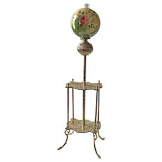 "WOW! Antique Victorian Double Shelf Brass Piano Floor Lamp ~ Rare Period 13"" HAND PAINTED ROSES Shade ~ Electrified"