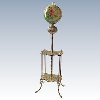 """WOW! Antique Victorian Double Shelf Brass Piano Floor Lamp ~ Rare Period 13"""" HAND PAINTED ROSES Shade ~ Electrified"""