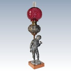 "RARE Bradley Hubbard Figural ""Boy with a Top and his Guardian Angles"" Banquet Lamp ~ RARE ORIGINAL Cranberry Hobnail SHADE~ Outstanding Fancy Ornate Font and Base~ 1890's ~ Original Oil Lamp Condition ~Original Parts"